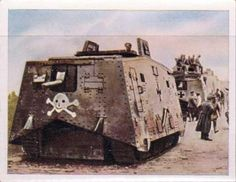 German tank, World War I. Postcard, Deutsches Reich. 1917.