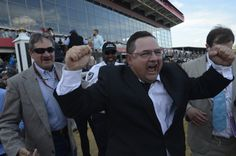 Alan Sherman, the assistant trainer for California Chrome, celebrates after the horse won the Preakness at Pimlico Race Course. Images Of California, Preakness Stakes, Horse Racing, Victorious, Chrome, Horses, Celebrities, Trainers, Champs
