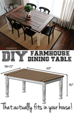 DIY Farmhouse Dining Table // Add the warm rustic feeling to your house with the farmhouse style table.