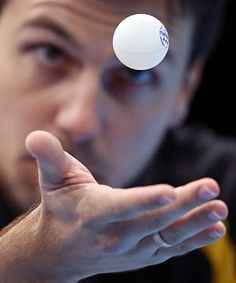 Timo Boll of Germany in the team table tennis runner-up match against Hong Kong team