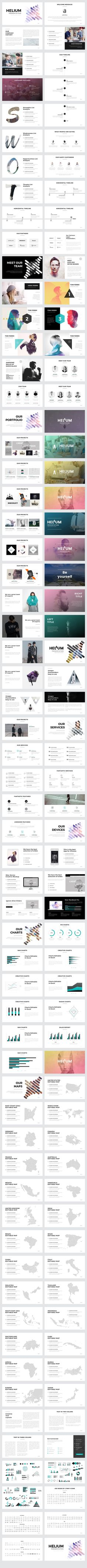 Helium PowerPoint Template by Slidedizer on @creativemarket                                                                                                                                                                                 More