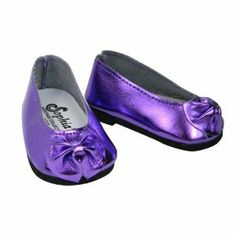 """Shiny Metallic Purple Patent Bow Doll Shoe, Fits 18 Inch American Girl Dolls, Metallic Purple Patent Doll Slip On Shoes by Sophia's. $5.95. Patent Bow. Metallic Purple Doll Shoe. Fits 18"""" Doll. These slip on style dress shoes feature a beautiful patent bow at the toe. 18"""" doll shoes are perfect for the next special occasion!"""