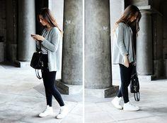 H&M Necklace, H&M T Shirt, Pull & Bear Cardigan, Topshop High Waisted Jeans, H&M Handbag, Nike Air Force 1