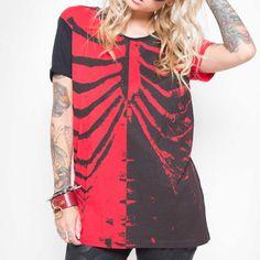 Iron Fist Bad To The Bone unisex T-shirt met ribbenkast print zwart/ro