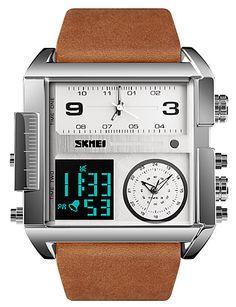 23df27420   26.99  SKMEI Men s Sport Watch Military Watch Digital Watch Digital  Genuine Leather Black   Brown 30 m Water Resistant   Waterproof Alarm  Calendar   date ...