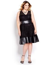 New Noir Lace and Faux Leather Dress