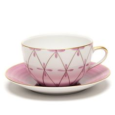Marie Daage Tambourin Cup & Saucer, Camelia & Chocolate | Gump's