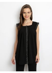 Black Top, Woven, Embellished Taping Along Round Neckline, Sleeveless, Sequined And Bead Embellishments Along Overturned Cuffs And Concealed Full Buttoned Placket, Pleats At Chest And Below Back Yoke, Curved Hemline