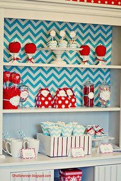 Blue Chevron and Red ~Cute Party