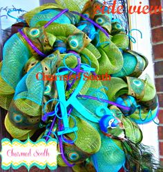 deco mesh Peacock wreath with monoram  www.charmedsouth.etsy.com