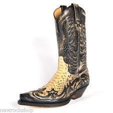 Sendra 3241 P Unisex Cowboy Boots Brown Leather Western Biker Handmade Python