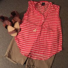 Perfect Spring/Summer Sleeveless Blouse Size XL Perfect Spring/Summer Sleeveless Blouse Size XL. Best fits a 14/16. Coral and white stripes with gold button decor up the back. So trendy and adorable. Makes me think of a day out on the lake! new directions Tops Blouses