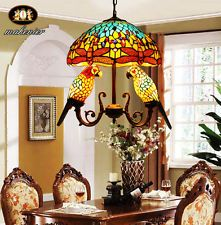 Tiffany Style Stained Glass Double Parrots+16'' Dragonfly  Lamp Chandelier