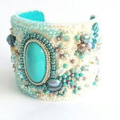 Cuff bracelet statement bracelet beaded bracelet by CinziaDesign Bead Embroidered Bracelet, Embroidery Bracelets, Beaded Cuff Bracelet, Wedding Bracelet, Beaded Embroidery, Beaded Jewelry, Cuff Bracelets, Leather Bracelets, Beaded Necklaces