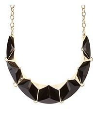 Faceted Stone & Metal Statement Necklace