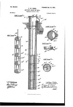 Patent US691024 - Battery chute or well. - Jan 14, 1902