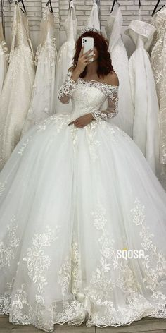 Ball Gown Off-the-Shoulder Illusion Long Sleeves Rustic Wedding Dress Bridal Gown Ball Gown Chic Off-the-Shoulder Lace Appliques Rustic Wedding Dress,Bridal Gowns. Rustic Wedding Dresses, Princess Wedding Dresses, Dream Wedding Dresses, Bridal Dresses, Wedding Ball Gowns, Ballroom Wedding Dresses, Expensive Wedding Dress, Royal Wedding Gowns, Disney Wedding Dresses