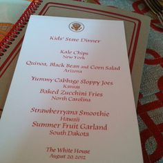 The Menu for the Kids' State Dinner at the White House