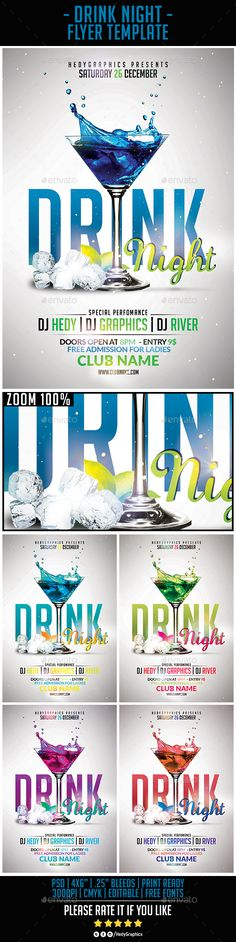 Drink Night - Flyer Template - Clubs & Parties Events
