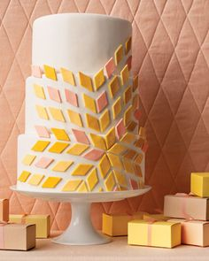 colorful modern wedding cake