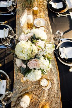 """Whoa. Talk about a glamorous Florida wedding! This celebration captured byJustin DeMutiis Photographyis seriously the definition of """"Modern-Glam."""" Everything from the sparkling gold decor to the classic black accentsmakes this one event that guests will always remembered. Under the sunlight, these reception tables shimmered fiercely, and we can't get enough. Take a look at more […]"""