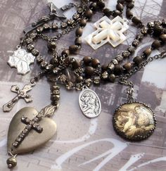 Lourdes Antique Rosary Sterling necklace w/Sacred Heart by angels9, $98.00