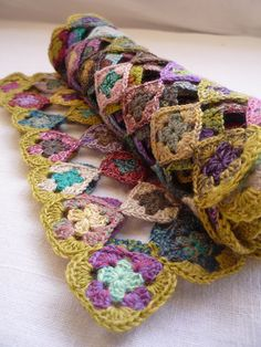 Mini granny scarf with heart motif. No Pattern but so cute, I'm sure I can find a heart motif to use.