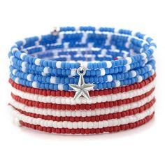Day Bracelet Inspiration Project Independence Day Bracelet - Easy to make. Uses memory wire & seed bead.Independence Day Bracelet - Easy to make. Uses memory wire & seed bead. Memory Wire Jewelry, Memory Wire Bracelets, Seed Bead Jewelry, Beaded Jewelry, Handmade Jewelry, Beaded Bracelets, Beaded Necklace, Stretch Bracelets, Seed Beads