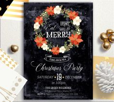Eat drink and be merry Christmas Invitation Black by AlniPrints #christmas #ideas #crafts #diy #photos #gifts #traditions #party #cookies #Party #Invitation #Chalkboard #xmas #download #card #printable #DIY #be #merry
