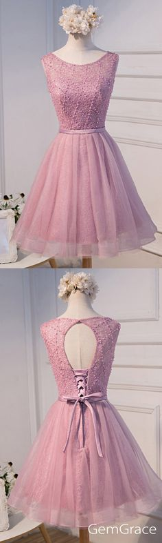pink beaded short tulle prom dress