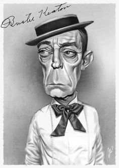 Caricature Portrait Buster Keaton Digital Item by Oddonkey on Etsy, €30.00