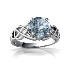 Aquamarine Celtic Knot Cushion cut 14K White Gold Ring R5000 - $339