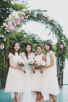 Peach, pink and white wedding with bridesmaids in dreamy tulle skirts //  A Midsummer Night's Dream-Inspired Wedding with Two Paolo Sebastian Dresses