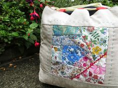 Over the last couple of posts I've shared pics of a work in progress. This project started a while back when Ali offered some of her beauti. West Liberty, Crazy Patchwork, Japanese Textiles, Liberty Fabric, Running Stitch, Goodie Bags, Fabric Scraps, Bag Making, Diaper Bag