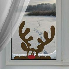 Fensterbilder zu Weihnachten Rentier aus Papier lustig
