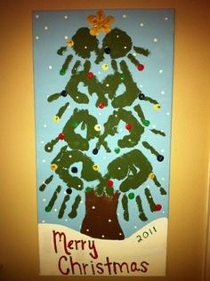 Christmas Idea!- use all the kids hand prints for a triangle shape- use paint and put on a hot pad for Christmas gift