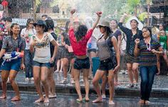 songkran festival water fight in thailand