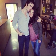 Ian with Gabrielle Walsh on her last day on the TVD set 5/12/14