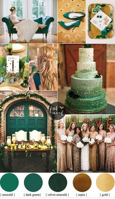 Emerald and Gold Wedding Colour for Vintage Wedding Theme | fabmood.com