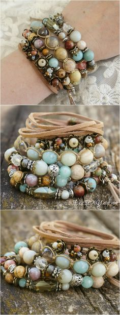 "Set of 5 Boho ""Floral Symphony"" Wrap Stretch Stack Bracelets, Hippie Gypsy Chic Floral Leather Tassel Crystal Bracelets, Gift Women ByLEXY"