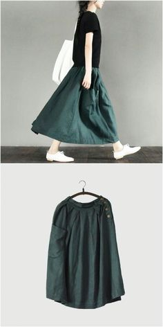 Green cotton linen skirt women clothes Maxi Outfits, Boho Outfits, Fashion Outfits, Womens Fashion, Hijab Fashion Inspiration, Mode Inspiration, Casual Dresses For Women, Clothes For Women, Linen Skirt