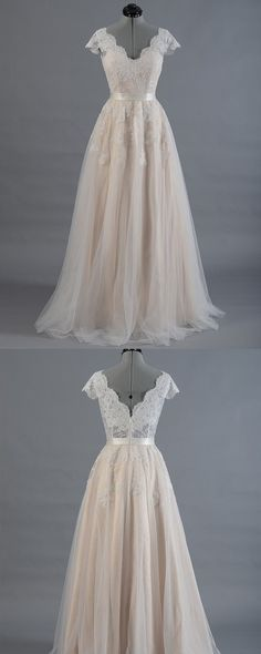 Lace Wedding Dress,Cap Sleeve Wedding Dress Bridal Gown, V-Neck Lace With Tulle Skirt,Chic Appliques Wedding Dress,Wedding Dresses,SVD 68