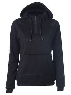 Casual Solid Black Hooded Zipper Long Sleeve Loose Women Sweatshirt