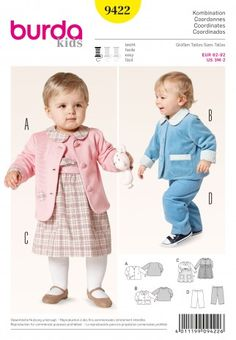 Burda Baby & Toddler Easy Sewing Pattern 9422 Dress, Jackets & Trousers | Sewing | Patterns | Minerva Crafts