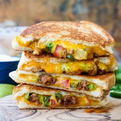This Taco Grilled Cheese Sandwich can be customized just like a taco! The original recipe is packed with bold flavor and a little heat for a lunch or dinner!