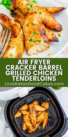 Air Fryer Cracker Barrel Chicken Tenderloins tastes just like the real deal! Using an air fryer helps keep them super moist - and so good! Air Fry Recipes, Air Fryer Dinner Recipes, Air Fryer Recipes Easy, Cooking Recipes, Appetizer Recipes, Finger Food Appetizers, Cracker Barrel Grilled Chicken, Cracker Chicken, Chicken Tenderloins