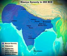Maurya Dynasty Territory [ in purple ] in 265 BCE. Maurya Empire at the age of King Ashoka. The empire stretched from Afghanistan to Bangladesh/Assam and from Central Asia ( Afghanistan ) to Tamil Nadu/South India. The map shows major ciies, early Buddhis History Of India, Asian History, Modern History, World History, Ancient History, Ancient Map, Tudor History, British History, Art History