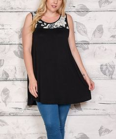 Take a look at this Black Floral-Accent Sleeveless Tunic - Plus today!