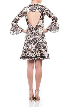 Vestido Curto Recorte Costas Tela Estampa Onça Floral » Vestidos