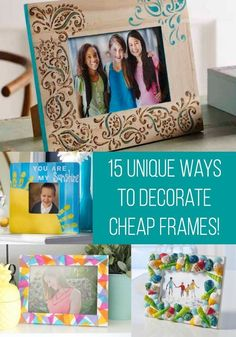 Learn 15 ways to decorate those cheap wooden picture frames from the craft store! These DIY picture frame projects are incredibly easy and budget friendly. Makes a great gift or perfect addition to your home decor. Picture Frame Projects, Picture Frame Crafts, Painted Picture Frames, Friends Picture Frame, Picture On Wood, Decorate Picture Frames, Diy Picture Frames On The Wall, Photo Frames Diy, Handmade Picture Frames